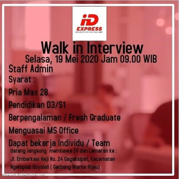 Lowongan Kerja Staff Admin Id Express Di Solo Info Loker Solo