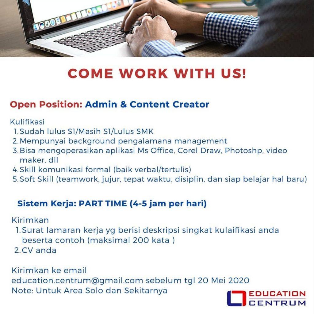 Lowongan Kerja Content Creator Education Di Solo Info Loker Solo