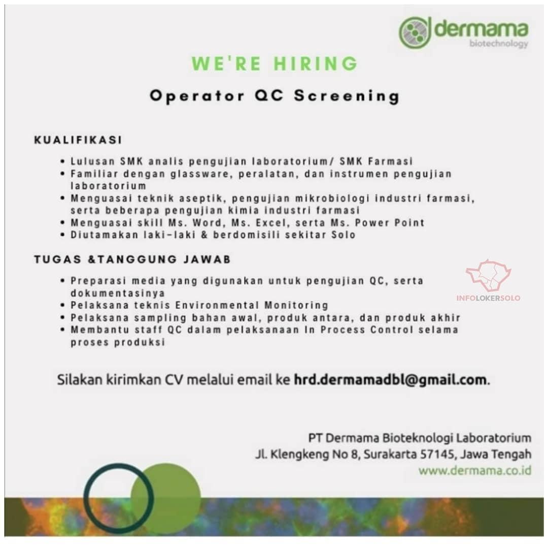 Lowongan Kerja Operator Qc Dermama Di Solo Info Loker Solo