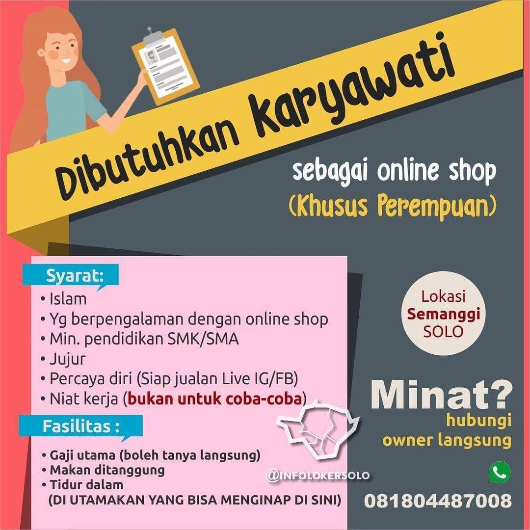 Lowongan Kerja Admin Perempuan Online Shop Di Solo Info Loker Solo