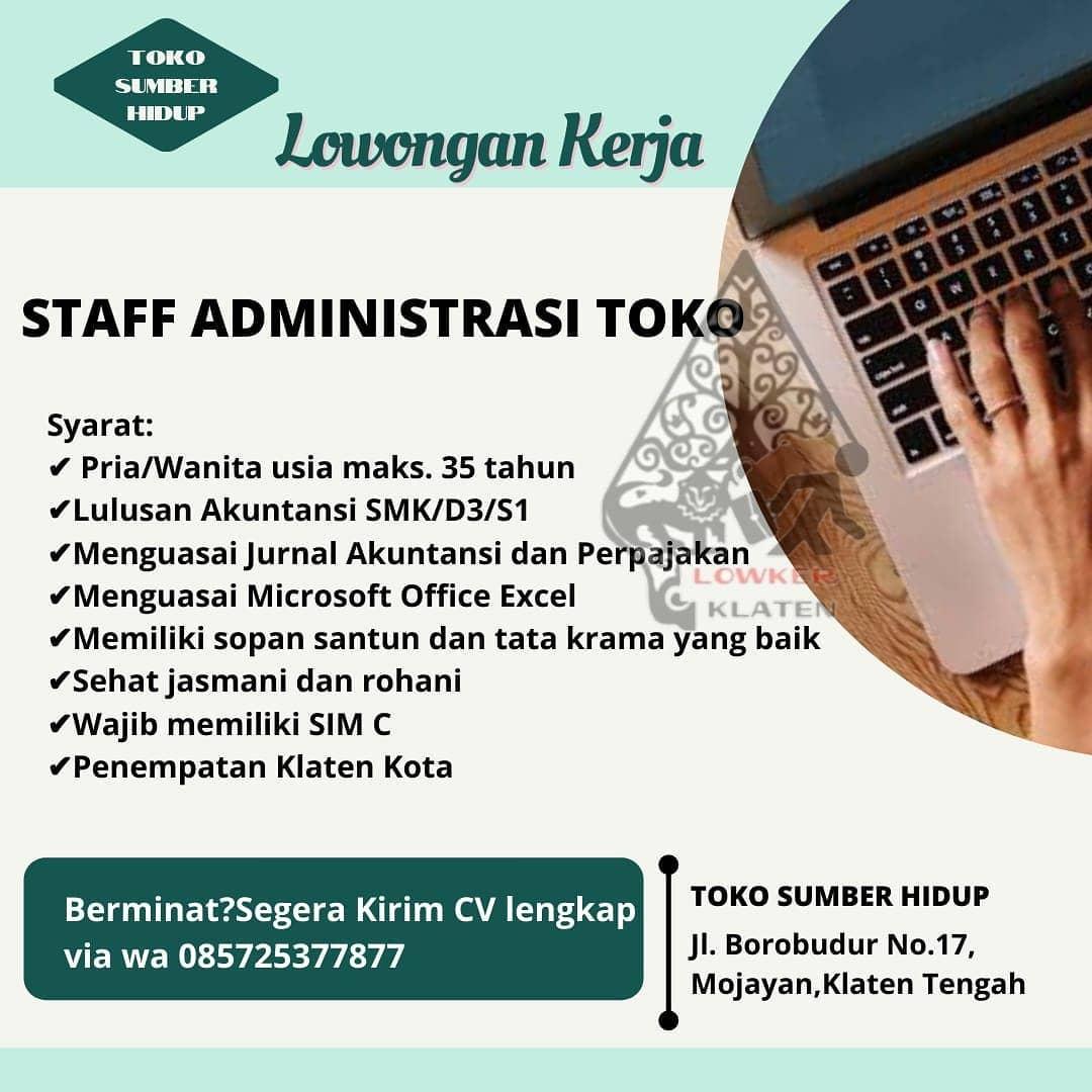 Lowongan Kerja Staff Admin Toko Sumber Hidup Info Loker Solo